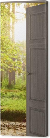 Obraz na płótnie Brązowe drzwi - Las -