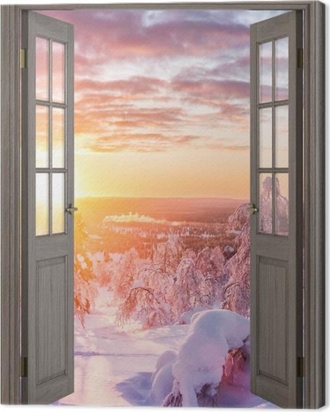 Obraz na płótnie Brązowe drzwi - Skandynawia o zachodzie słońca -