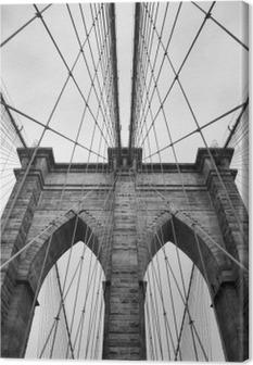 Obraz na płótnie Brooklyn Bridge New York City bliska detal architektoniczny w ponadczasowej czerni i bieli