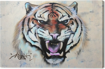 Obraz na płótnie Brüllender Tygrys Graffiti