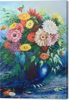 Obraz na płótnie Bukiet polnych kwiatów w wazonie