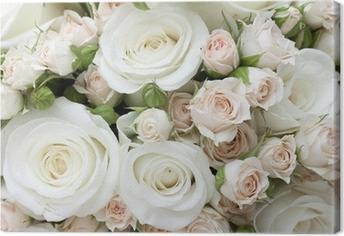 Obraz na płótnie Bukiet ślubny z białych róż pinkand