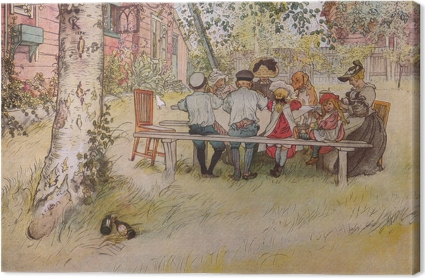 Obraz na płótnie Carl Larsson - Śniadanie pod wielką brzozą - Reproductions