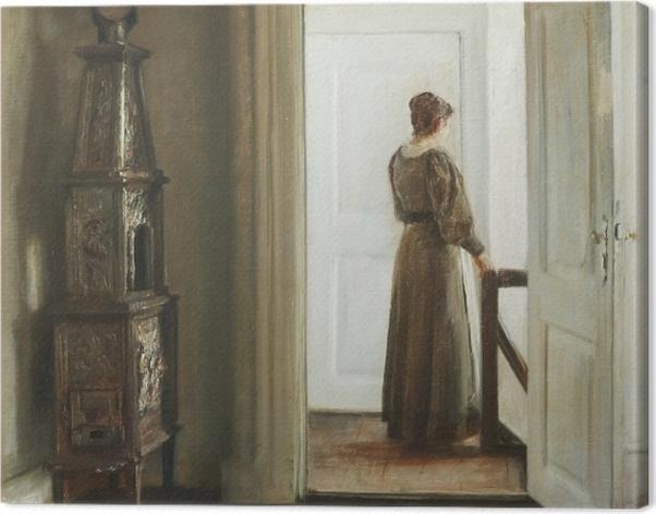 Obraz na płótnie Carl Vilhelm Holsøe - Wnętrze z kobietą - Reproductions