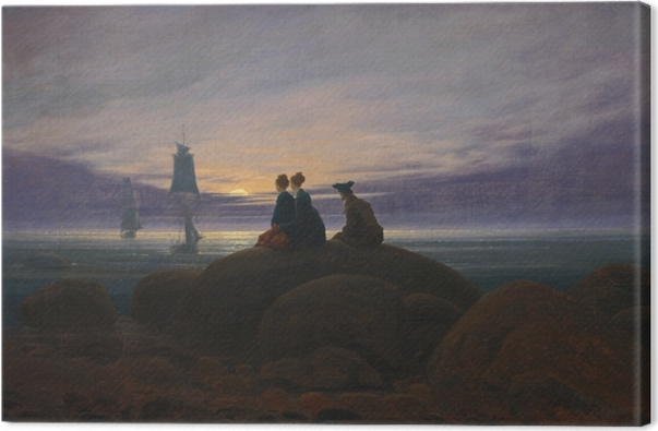 Obraz na płótnie Caspar David Friedrich - Wschód księżyca nad morzem II - Reproductions