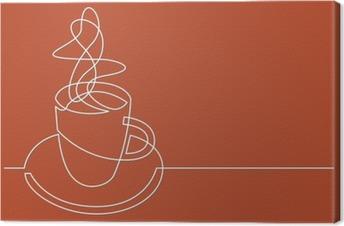 Obraz na płótnie Ciągłe rysowanie linii z filiżanką kawy