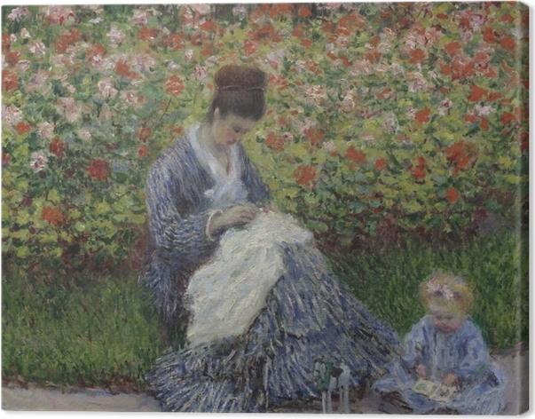 Obraz na płótnie Claude Monet - Camille Monet z synem w ogrodzie w Argenteuil - Reprodukcje