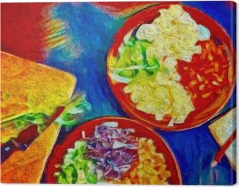 Obraz na płótnie Cyfrowy kolorowy obraz. plakat z jedzeniem idealnym do dekoracji kawiarni lub restauracji.