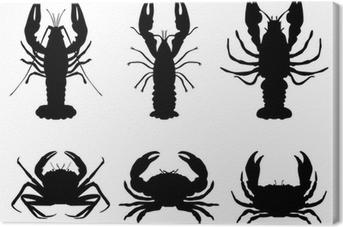 Obraz na płótnie Czarne sylwetki langusty i kraby, wektor