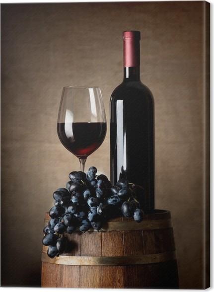 obraz na p�243tnie czerwone wino z beczki i winogron