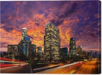 Obraz na płótnie Downtown LA noc los angeles skyline słońca california
