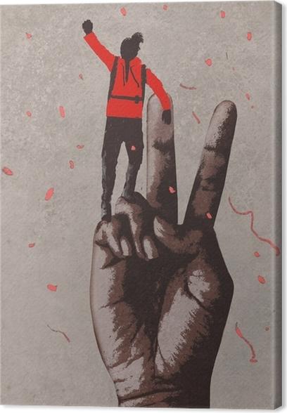Obraz na płótnie Duża ręka w znak zwycięstwa i człowiek z ramienia podniesione, ilustracja malarstwo - Styl życia