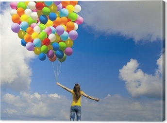 Obraz na płótnie Dziewczyna z kolorowych balonów