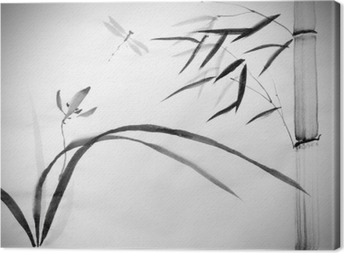 Obraz na płótnie Dzika orchidea i bambusa