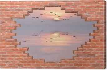 Obraz na płótnie Dziura w murze - Zachód słońca