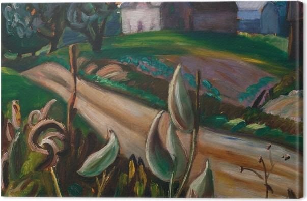 Obraz na płótnie Efa Prudence Heward - Wieska droga z zabudowaniami gospodarskimi i trojeścią - Reproductions