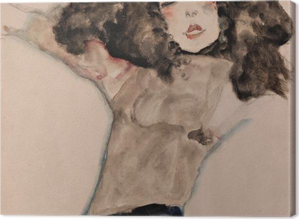 Obraz na płótnie Egon Schiele - Czarnowłosa, naga dziewczyna - Reprodukcje