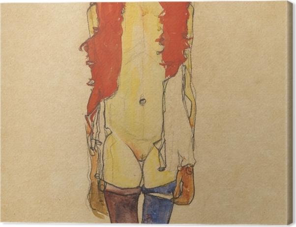 Obraz na płótnie Egon Schiele - Dziewczyna z boa - Reprodukcje