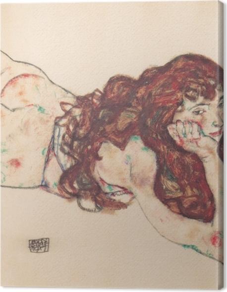 Obraz na płótnie Egon Schiele - Leżąca kobieta - Reprodukcje