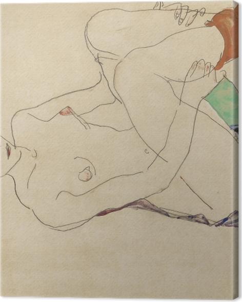 Obraz na płótnie Egon Schiele - Leżąca naga dziewczyna - Reprodukcje