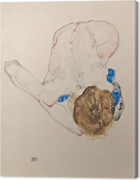 Obraz na płótnie Egon Schiele - Naga dziewczyna w niebieskich pończochach pochylona do przodu - Reprodukcje