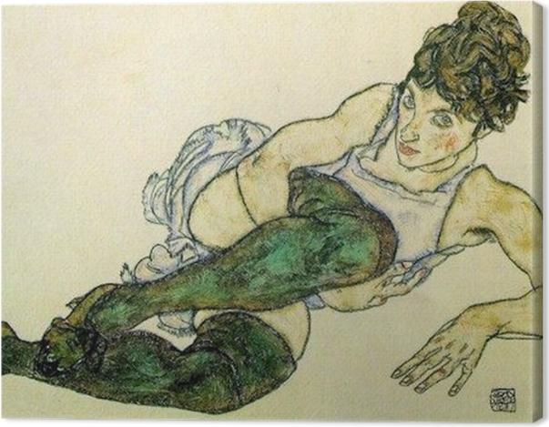 Obraz na płótnie Egon Schiele - Pochylająca się kobieta w zielonych pończochach - Reprodukcje