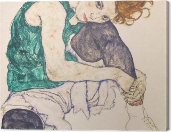 Obraz na płótnie Egon Schiele - Siedząca kobieta ze zgiętym kolanem - Reprodukcje