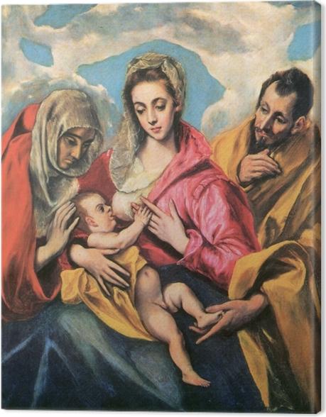 Obraz na płótnie El Greco - Święta rodzina ze św. Anną - Reprodukcje