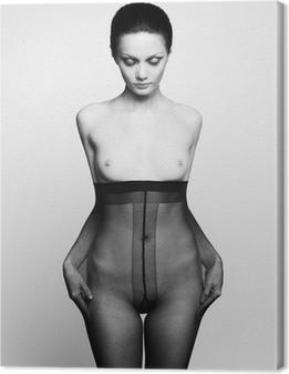 Obraz na płótnie Elegancka kobieta w rajstopach