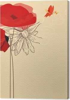 Obraz na płótnie Floral zaproszenie, maki i wektora motyl
