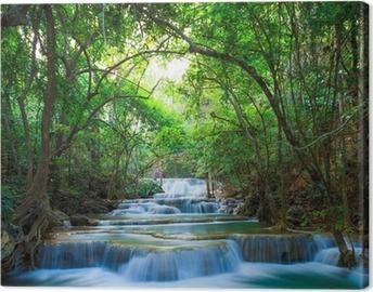 Obraz na płótnie Gęstego lasu wodospad w Kanchanaburi, Tajlandia