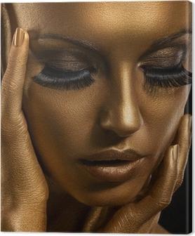 Obraz na płótnie Gilt. Złoty twarz kobiety. Giled Make-up. Painted Skin
