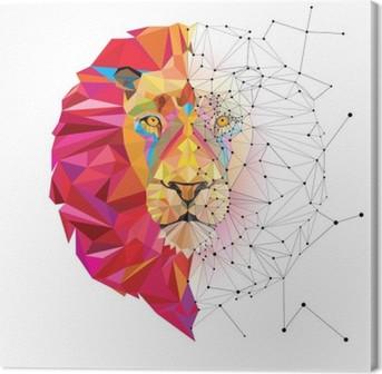 Obraz na płótnie Głowa lwa w geometryczny wzór z linii wektora gwiazdy