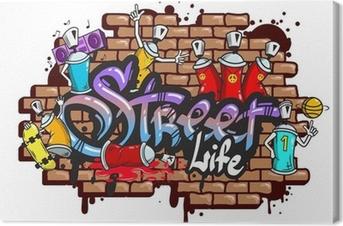 Obraz na płótnie Graffiti znaki słowne skład