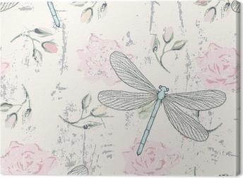 Obraz na płótnie Grungy kwiatowy szwu z ważki