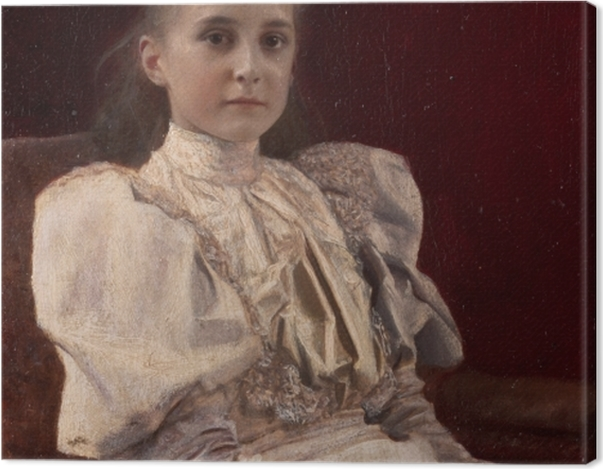 Obraz na płótnie Gustav Klimt - Siedząca młoda dziewczyna - Reprodukcje