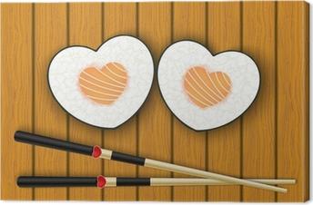 Obraz na płótnie Heart-shaped sushi i pałeczkami