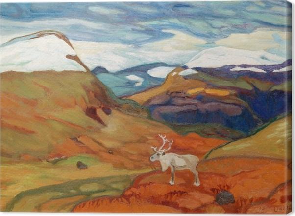 Obraz na płótnie Helmer Osslund - Jesienny pejzaż z reniferem - Reproductions