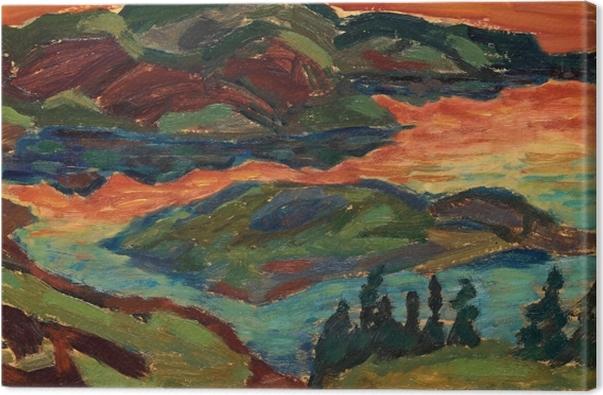 Obraz na płótnie Helmer Osslund - Wieczór nad rzeką Ljungan - Reproductions
