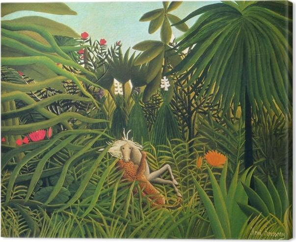 Obraz na płótnie Henri Rousseau - Jaguar atakujący konia - Reproductions