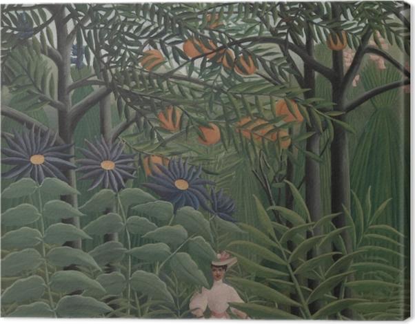 Obraz na płótnie Henri Rousseau - Kobieta spacerująca po egzotycznym lesie - Reprodukcje