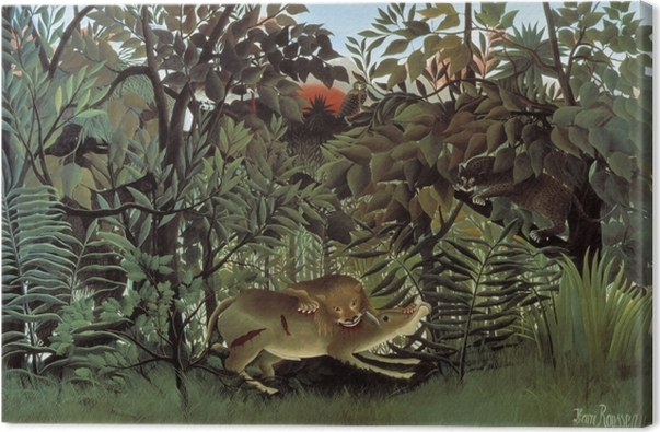 Obraz na płótnie Henri Rousseau - Lew, zgłodniawszy, rzuca się na antylopę - Reprodukcje