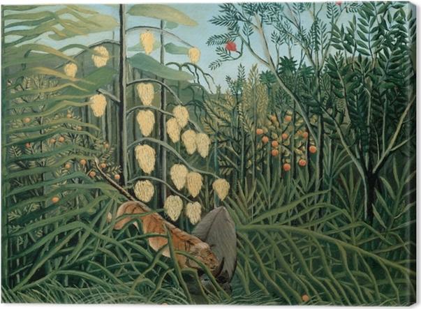 Obraz na płótnie Henri Rousseau - Walka pomiędzy tygrysem a bawołem - Reprodukcje