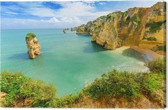 Obraz na płótnie Idylliczny krajobraz plaża w Lagos, Algarve (Portugalia),