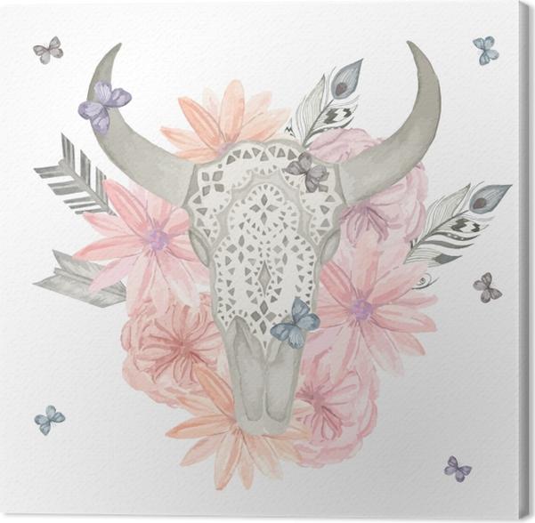 Obraz na płótnie Ilustracja czaszki byka w kolorach do druku -