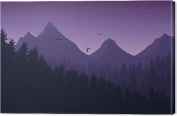 Obraz na płótnie Ilustracji wektorowych górski krajobraz z lasu pod purpurowe nocne niebo z chmurami i latające ptaki