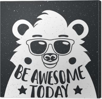 Obraz na płótnie Ilustracji wektorowych z stylowe hipster biały niedźwiedź w okulary.
