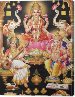 Obraz na płótnie Indyjska bogini Lakshmi z maa MAA Saraswati i Ganesh ji