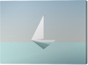 Obraz na płótnie Jacht symbol ikony w nowoczesnym stylu niskiej poli. Letnie wakacje lub podróż wakacje tła. Metafora działalności na rzecz wolności i sukcesu.