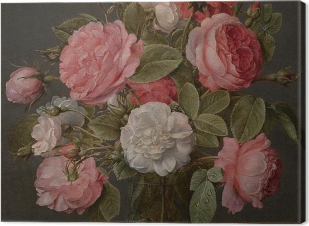 Obraz na płótnie Jacob van Hulsdonck - Roses in a Glass Vase - Reprodukcje